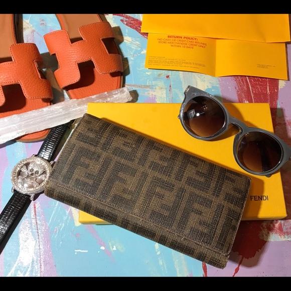 06a7ed58 Auth Fendi FF Monogram Zucca Wallet W Box Receipt